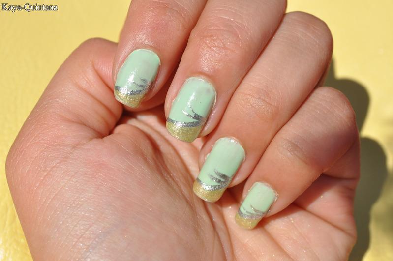 Nagels: Mint groene zomer nail art - Kaya-Quintana