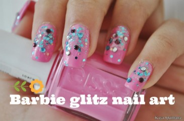 Nagels: Barbie glitz nail art