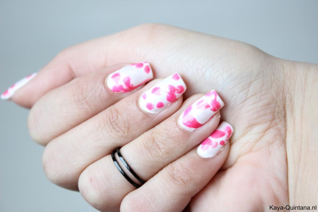pink batik nail art