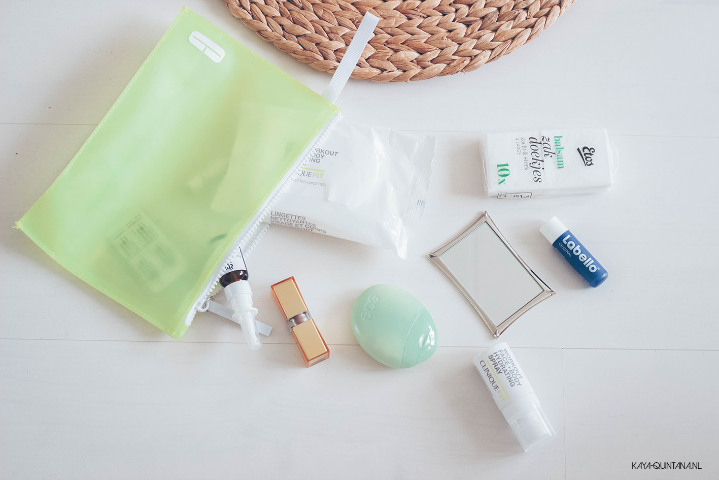 Beauty products in my gym bag