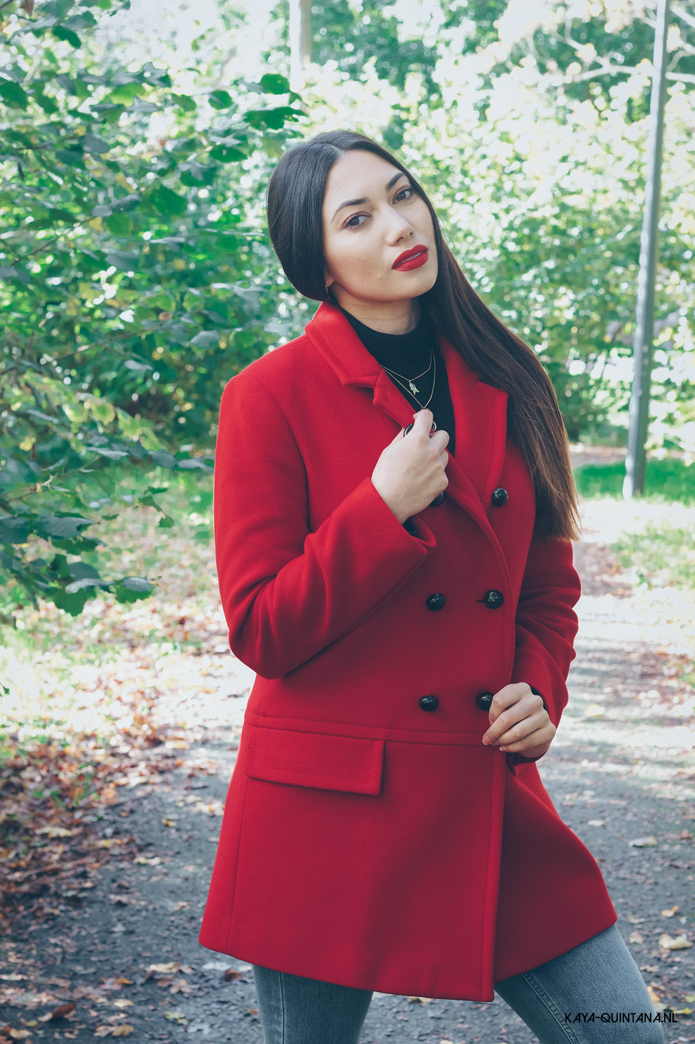 classic red coat outfit