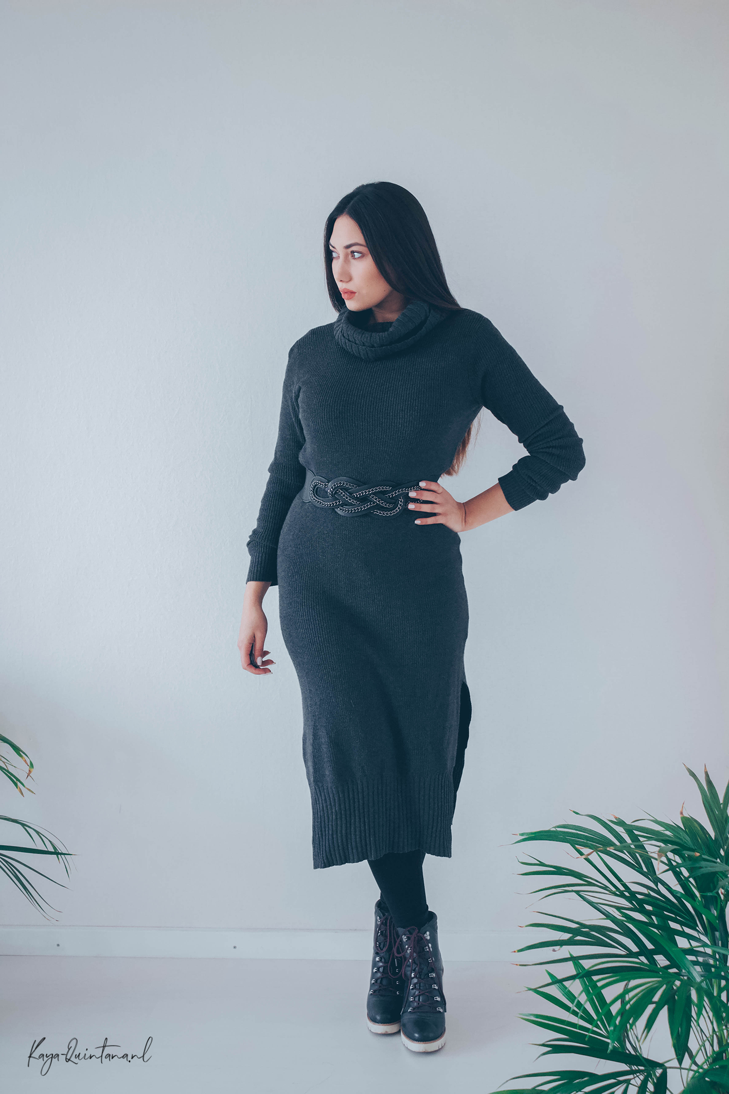 casual turtleneck dress outfit