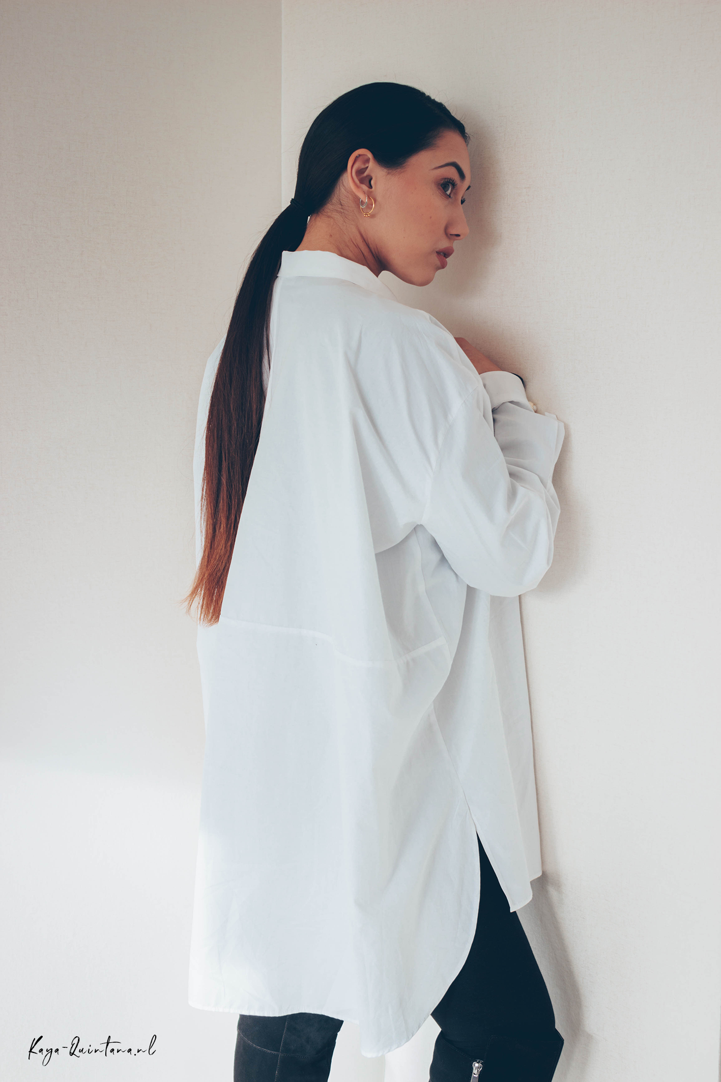 white oversized blouse outfit