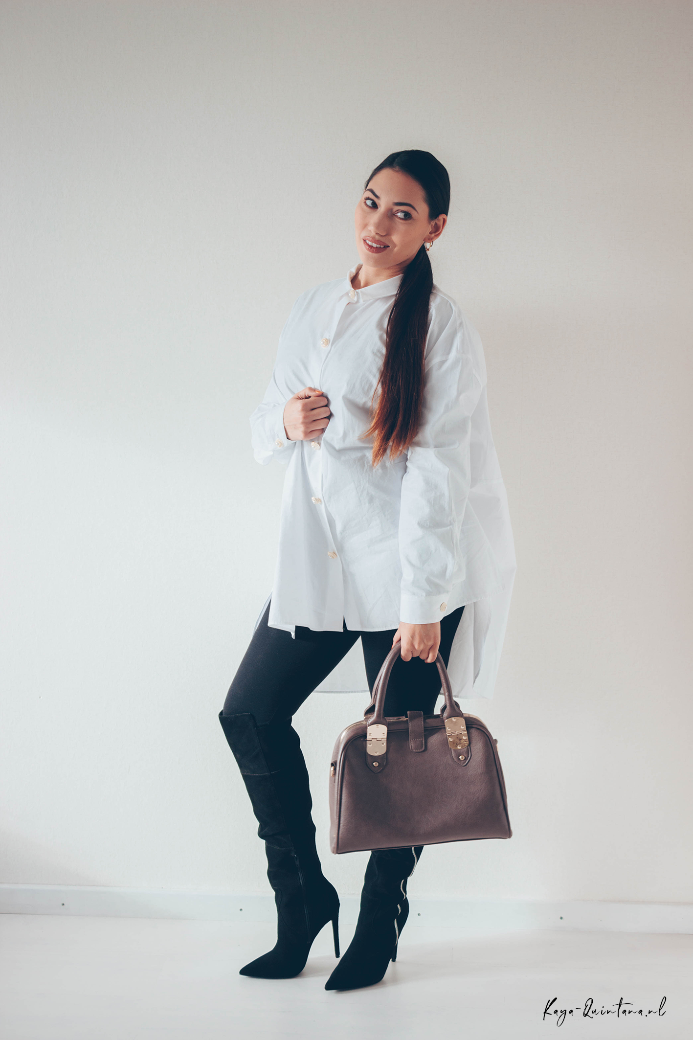 white oversized blouse zara