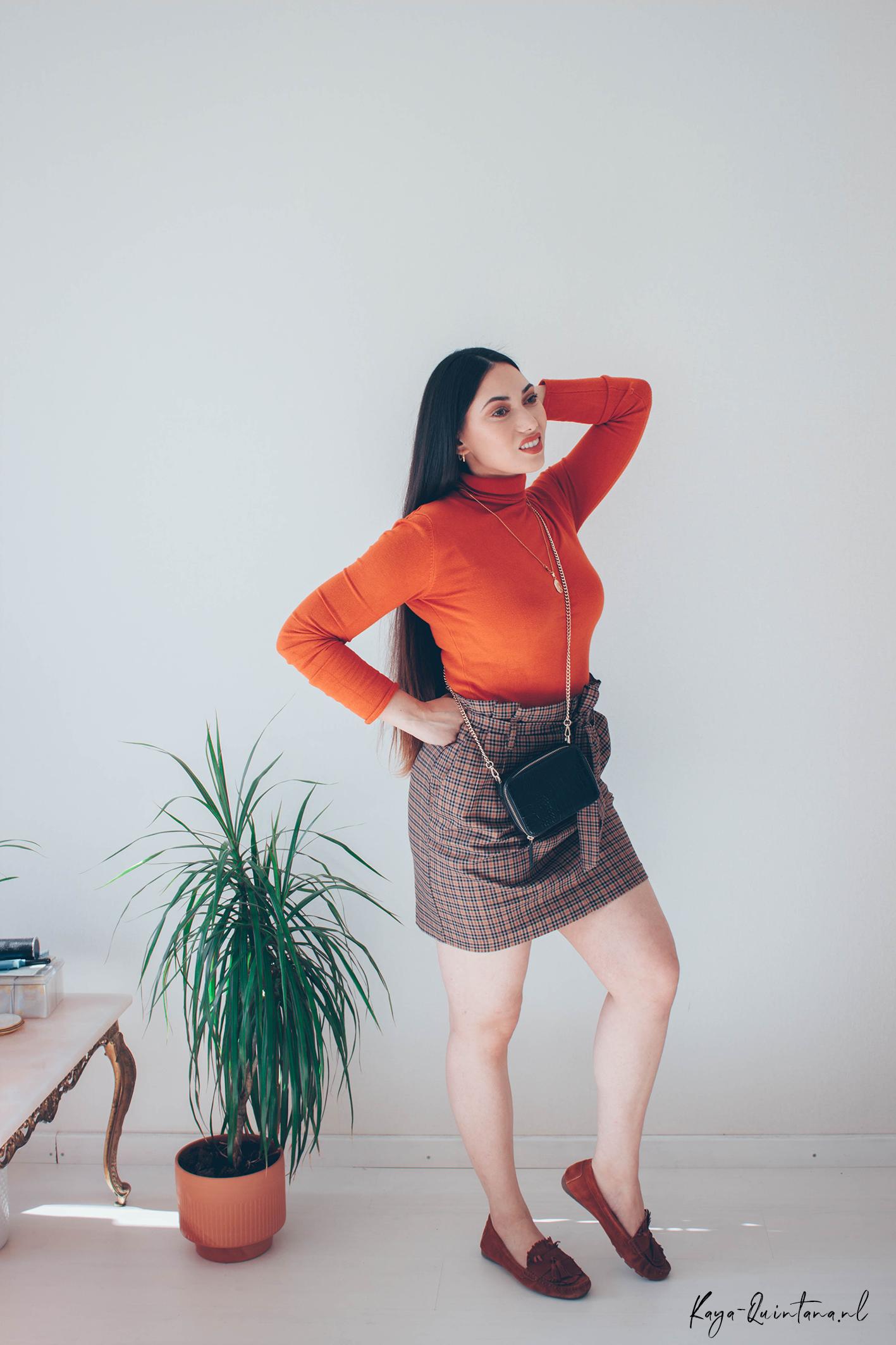 checkered paper bag skirt
